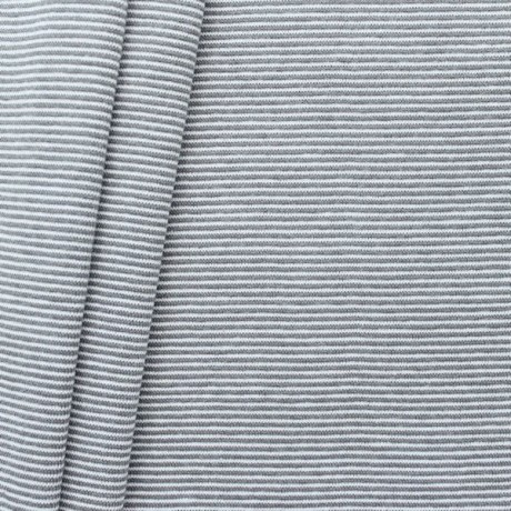 Baumwoll Bündchenstoff Ringel Mini glatt Grau Weiss