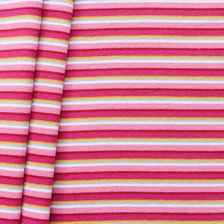 Baumwoll Bündchenstoff Ringel Mix glatt Rosa-Pink-Gelb