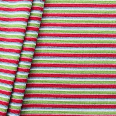 Baumwoll Bündchenstoff Ringel Mix glatt Rot-Grün-Grau