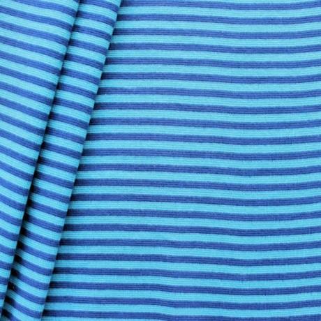 Baumwoll Bündchenstoff Ringel glatt Azur-Blau