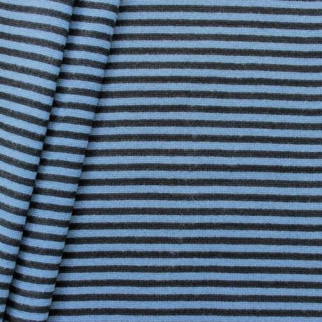 Baumwoll Bündchenstoff Ringel glatt Blau-Schwarz