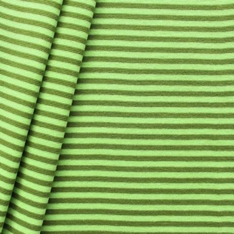 Baumwoll Bündchenstoff Ringel glatt Hell-Grün Oliv