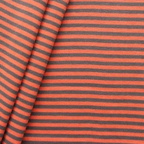 Baumwoll Bündchenstoff Ringel glatt Orange-Grau