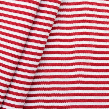 Baumwoll Bündchenstoff Ringel glatt Rot Weis