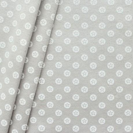 Baumwoll Bündchenstoff Stern im Kreis glatt  Beige-Weiss