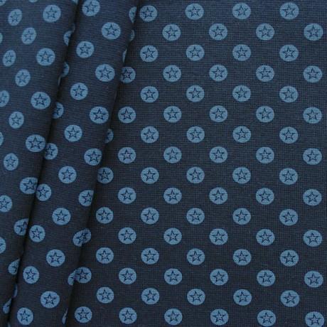 Baumwoll Bündchenstoff Stern im Kreis glatt Blau