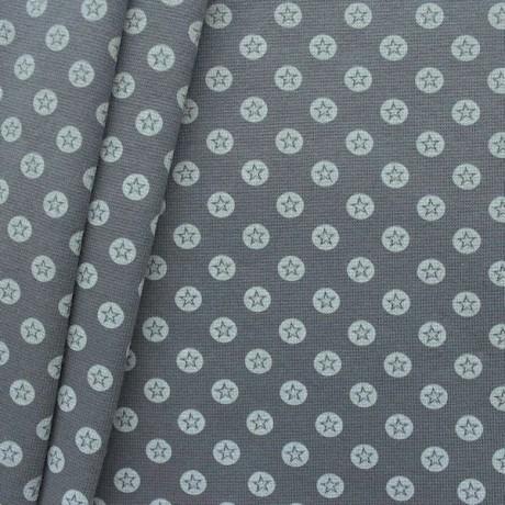 Baumwoll Bündchenstoff Stern im Kreis glatt Dunkel-Grau