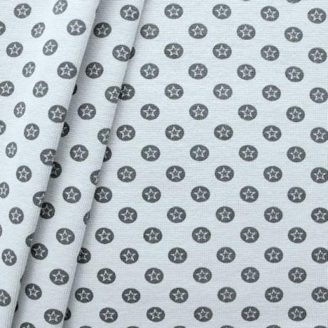 Baumwoll Bündchenstoff Stern im Kreis glatt Hell-Grau