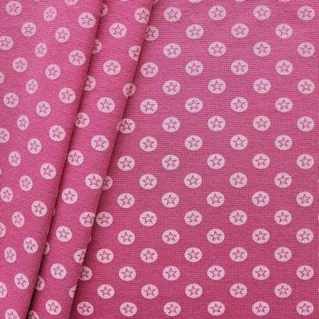 Baumwoll Bündchenstoff Stern im Kreis glatt Pink-Violett