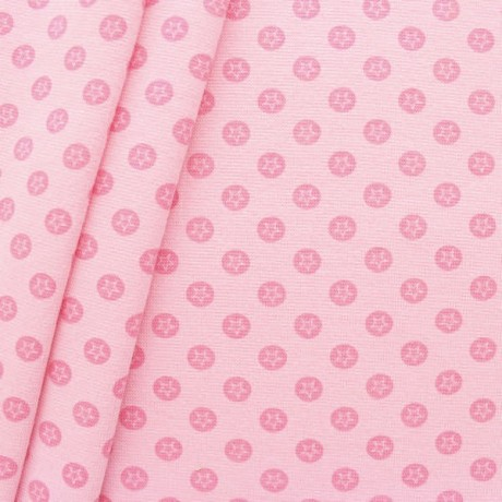 Baumwoll Bündchenstoff Stern im Kreis glatt Rosa
