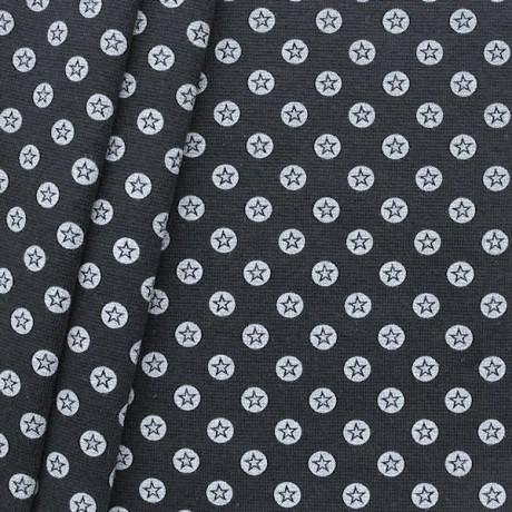 Baumwoll Bündchenstoff Stern im Kreis glatt Schwarz-Weiss