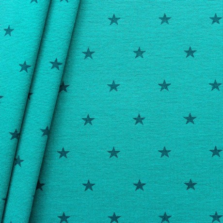 Baumwoll Bündchenstoff Sterne Mittel glatt Dunkel-Petrol