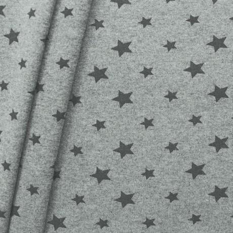 Baumwoll Bündchenstoff Sterne Mix glatt Hell-Grau meliert