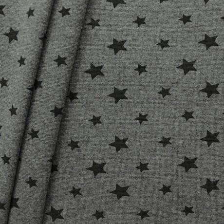 Baumwoll Bündchenstoff Sterne Mix glatt Dunkel-Grau meliert