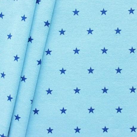 Baumwoll Bündchenstoff Sterne Mittel glatt Himmel-Blau