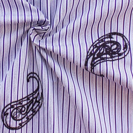 Baumwolle Popeline Streifen bestickt Paisley Lila-Weiss