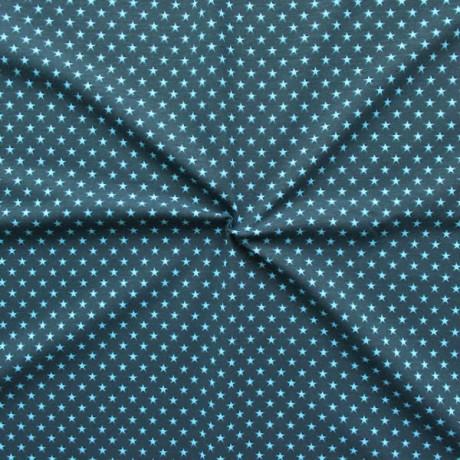 Baumwoll Stretch Jersey Sterne klein Dunkelblau Hellblau