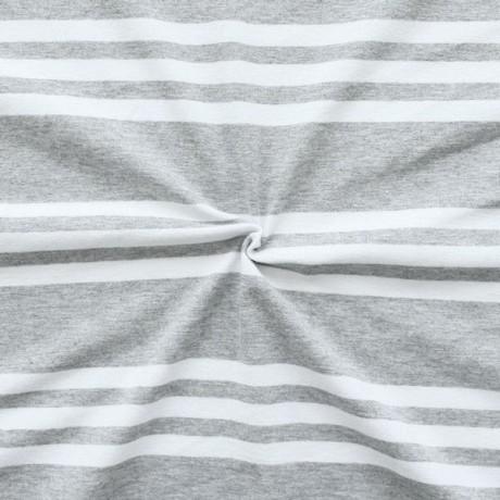 Baumwoll Stretch Jersey 3-Stripes Hell-Grau meliert Weiss