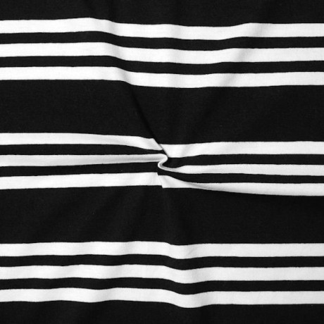 Baumwoll Stretch Jersey 3-Stripes Schwarz-Weiss