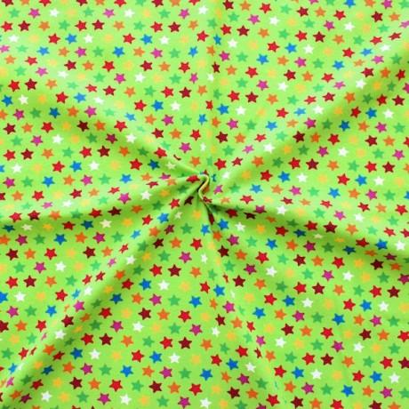 Baumwoll Stretch Jersey Bunte Sterne Mittel Lind-Grün