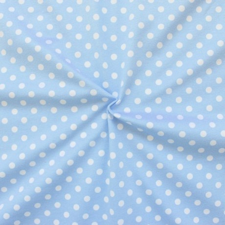 Baumwoll Stretch Jersey Classic Dots Hell-Blau
