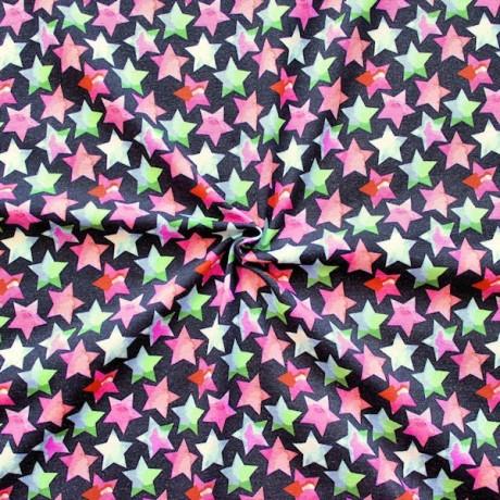 Baumwoll Stretch Jersey Coloured Stars Schwarz
