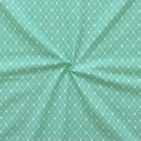 Baumwoll Stretch Jersey Diamonds & Dots Mint