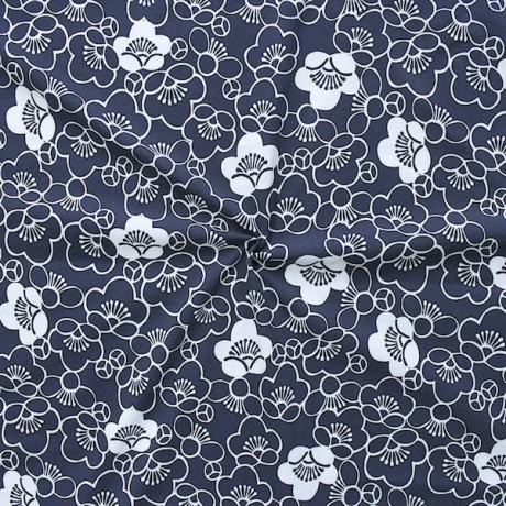 Baumwoll Stretch Jersey Fashion Flowers Dunkel-Blau