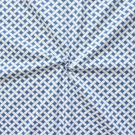 Baumwoll Stretch Jersey Flechtwerk Weiss Blau