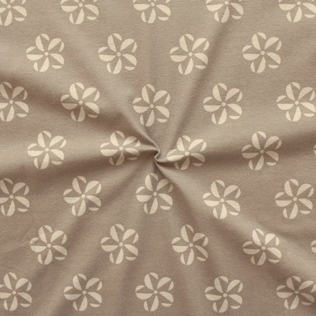 Baumwoll Stretch Jersey Flower Fantasy Star Beige-Braun