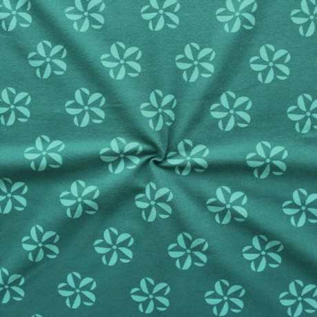 Baumwoll Stretch Jersey Flower Fantasy Star Petrol