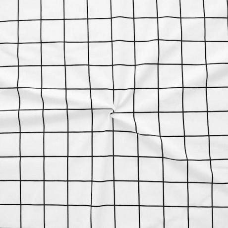 Baumwoll Stretch Jersey Gitter Weiss Schwarz
