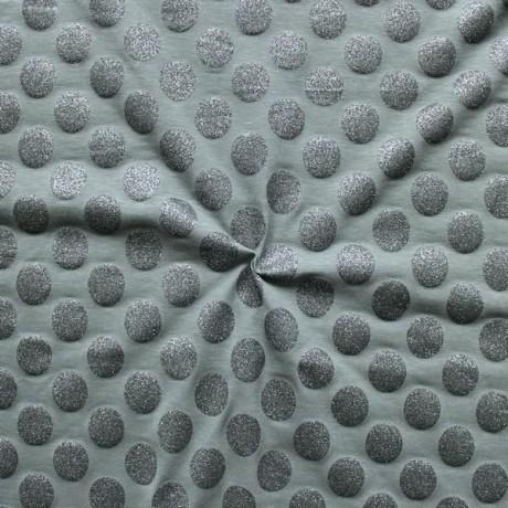 Baumwoll Stretch Jersey Glamour Dots Grau
