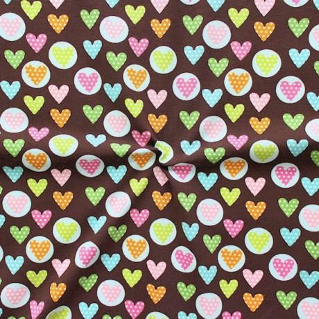 Baumwoll Stretch Jersey Herzen und Punkte Braun