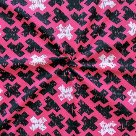 Baumwoll Stretch Jersey Kreuze Pink
