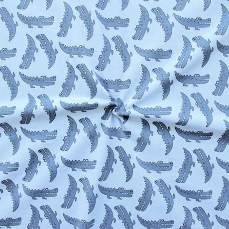 Baumwoll Stretch Jersey Krokodile Hell-Blau