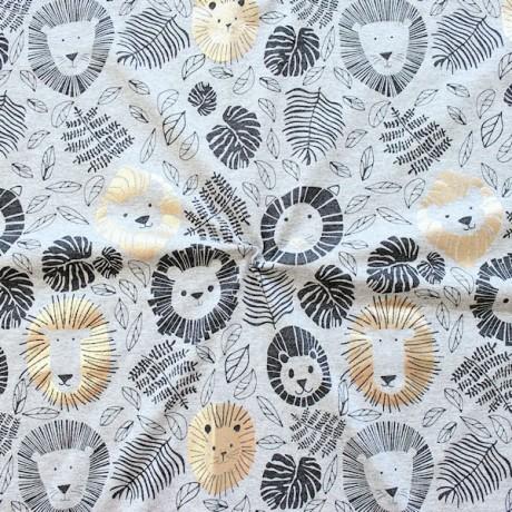 Baumwoll Stretch Jersey Löwenbande Grau meliert
