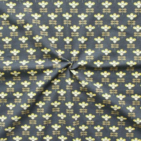 Baumwoll Stretch Jersey Lollipop Flowers Dunkel-Grau