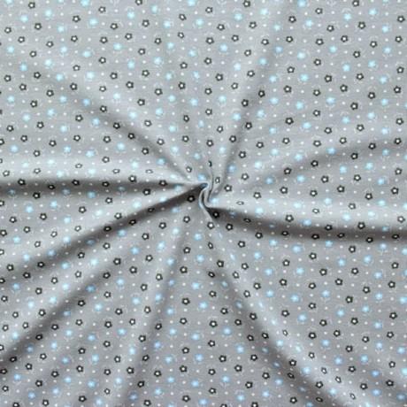Baumwoll Stretch Jersey Petites Fleurs Grau