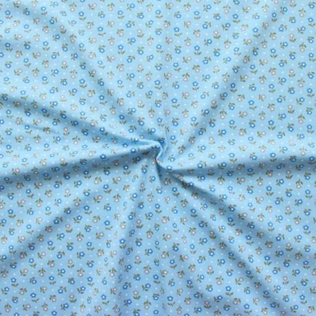 Baumwoll Stretch Jersey Petites Fleurs Hell-Blau