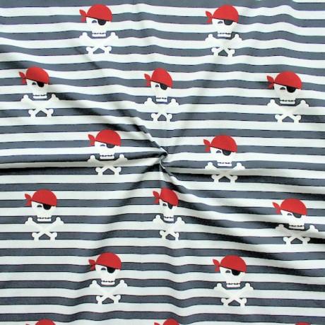 Baumwoll Stretch Jersey Piraten Skulls und Streifen Grau