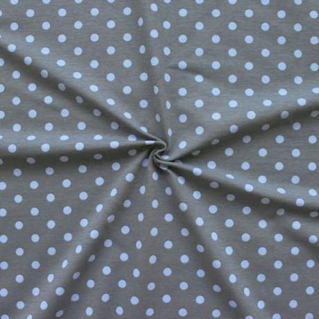 Baumwoll Stretch Jersey Punkte Mittel Grau Hell-Blau