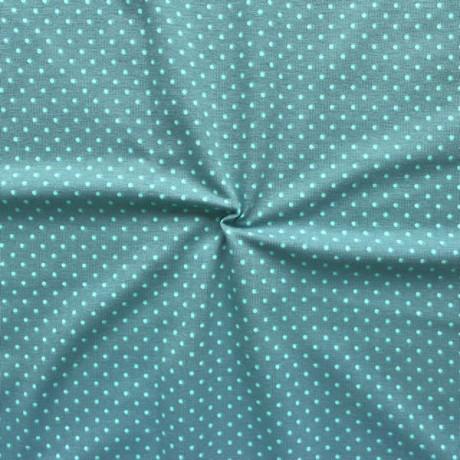 Baumwoll Stretch Jersey Punkte klein Blau-Grau Türkis