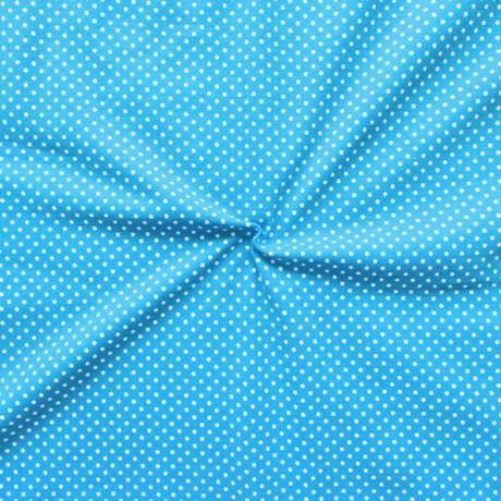 Baumwoll Stretch Jersey Punkte Capri-Blau Weiss