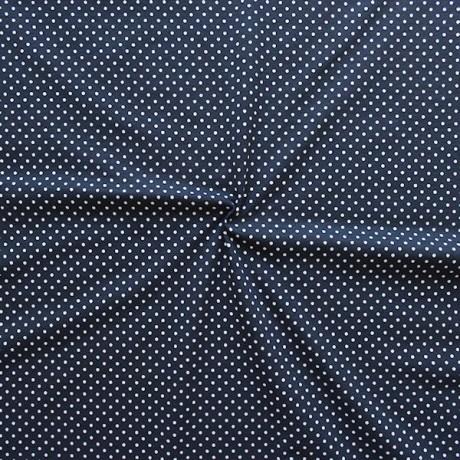 Baumwoll Stretch Jersey Punkte Dunkel-Blau Weiss