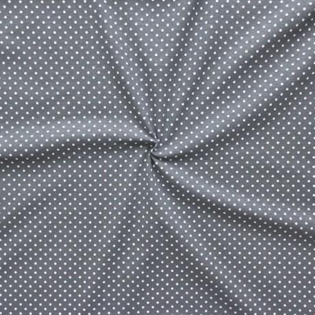 Baumwoll Stretch Jersey Punkte Grau Weiss