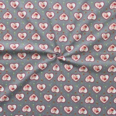 Baumwoll Stretch Jersey Rosen-Herzen Grau