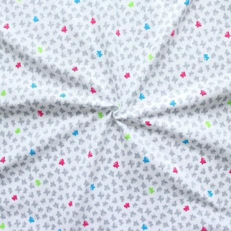 Baumwoll Stretch Jersey Schmetterlinge klein Weiss