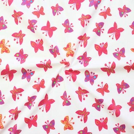 Baumwoll Stretch Jersey Schmetterlinge Weiss
