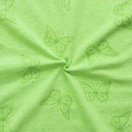 Baumwoll Stretch Jersey Schmetterlinge Melange Lind-Grün